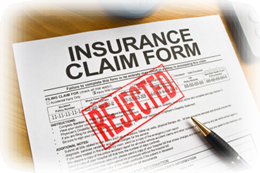 Insurance claim denied - picture of claim rejected