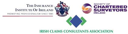 Membership logos - Insurance Institute of Ireland, Society of Chartered Surveyors Ireland, Irish Claims Consultants Association