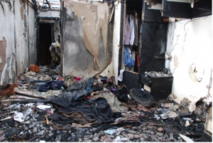Fire Damage Insurance Claim Case Study - Bedroom damaged by fire