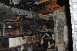 Fire damage to Kitchen in apartment