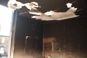 Fire Damage to apartment lounge