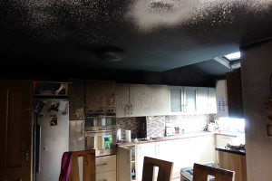 Blackened Kitchen from fire on stove