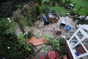 home damaged by wind