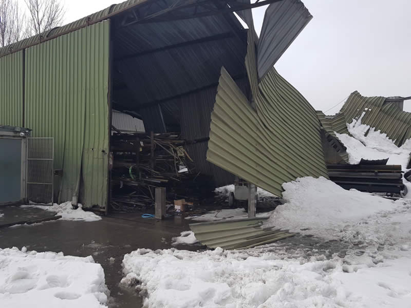 Industrial Unit collapsed due to storm damage and heavy snow load