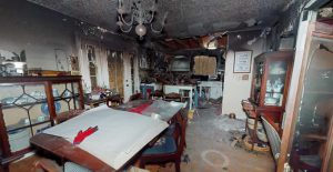 3D scan of smoke and fire damaged room